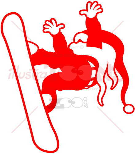 Extreme snowboarding Santa Claus