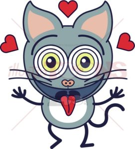 Funny cat feeling madly in love - illustratoons