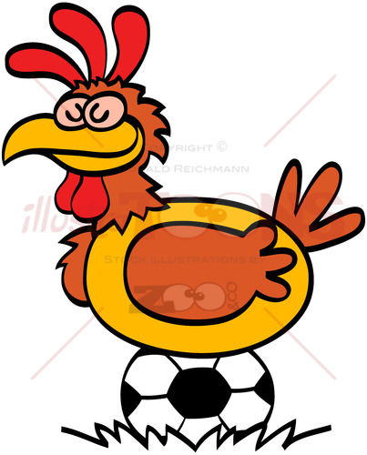 Funny hen laying soccer balls - illustratoons