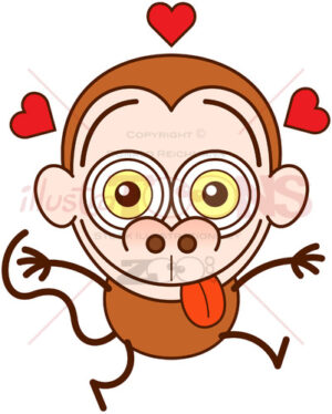 Funny monkey feeling crazy in love - illustratoons