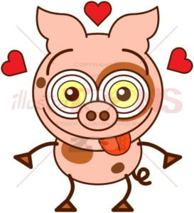 Funny pink pig crazily falling in love - illustratoons