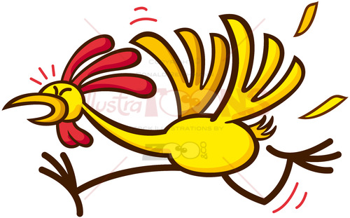 Funny yellow chicken running nervously - illustratoons