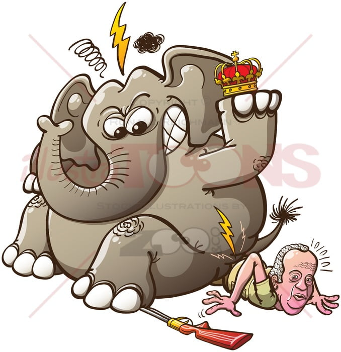 Furious elephant breaks Spain's King hip - illustratoons