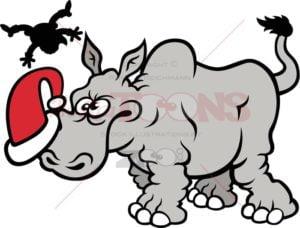 Furious-wild-rhinoceros-charging-Santa-Claus