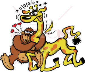 Gorilla madly in love with a giraffe - illustratoons