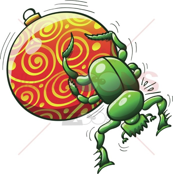 Green-beetle-pushing-a-Christmas-bauble