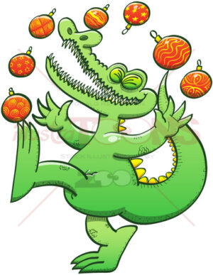 Green crocodile juggling Christmas baubles - illustratoons