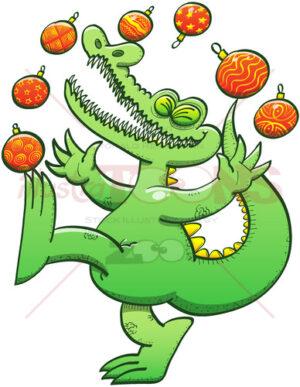 Green crocodile juggling Christmas baubles - illustratoons