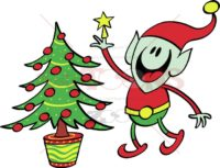 Green-elf-decorating-a-Christmas-tree