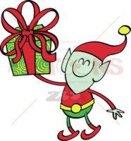 Green-elf-giving-a-Christmas-present