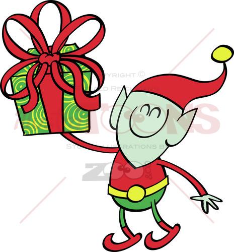 Green elf giving a Christmas present