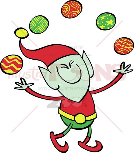 Green elf juggling Xmas baubles