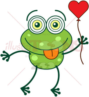 Green frog falling in love - illustratoons