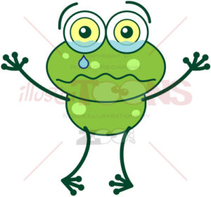 Green frog feeling sad and crying - illustratoons