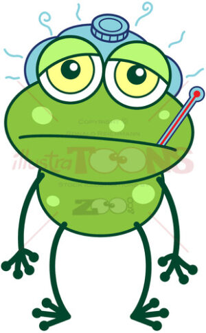 Green frog getting sick - illustratoons
