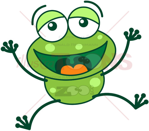 Green frog laughing and celebrating big - illustratoons