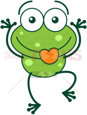 Green frog making funny faces - illustratoons