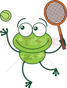 Green frog playing tennis - illustratoons