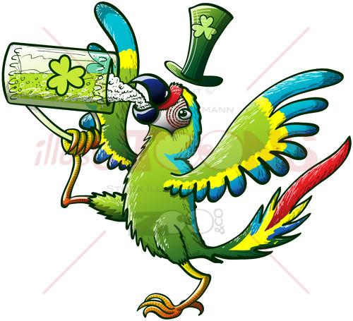 Green macaw celebrating St Patrick's Day - illustratoons
