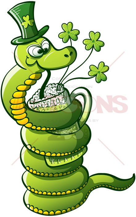 Green snake drinking Saint Patrick's Day beer - illustratoons