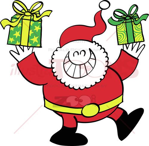 Grinning Santa Claus bringing Xmas presents