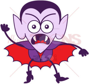 Halloween Dracula feeling furious and protesting - illustratoons