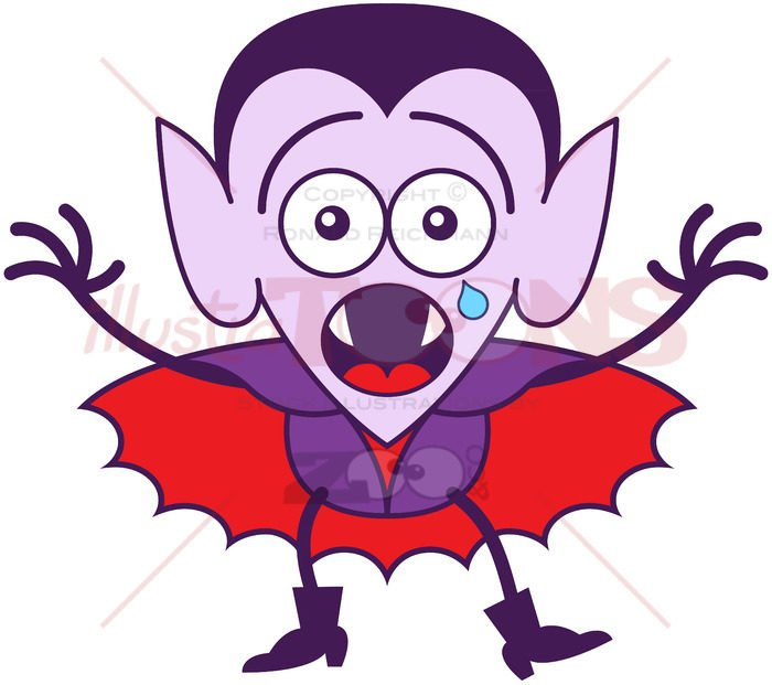 Halloween Dracula feeling scared and crying - illustratoons