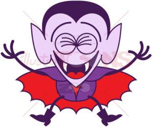 Halloween Dracula laughing joyfully - illustratoons