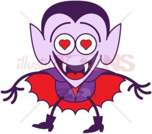 Halloween Dracula madly falling in love - illustratoons