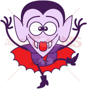Halloween Dracula making funny faces - illustratoons