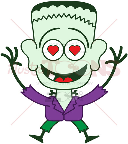 Halloween Frankenstein falling in love - illustratoons
