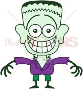 Halloween Frankenstein showing embarrassment - illustratoons
