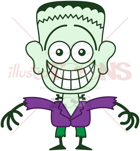 Halloween Frankenstein showing embarrassment - illustratoons