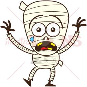 Halloween mummy feeling scared - illustratoons