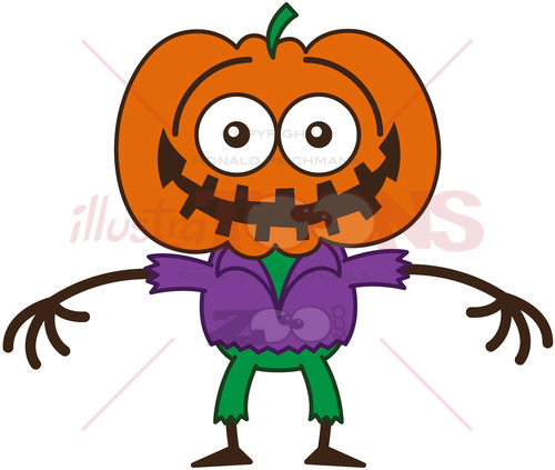 Halloween scarecrow feeling embarrassed - illustratoons