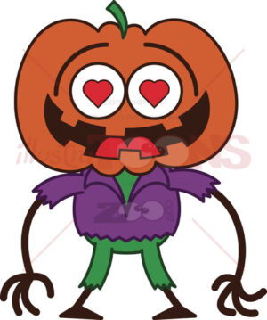 Halloween scarecrow madly falling in love - illustratoons
