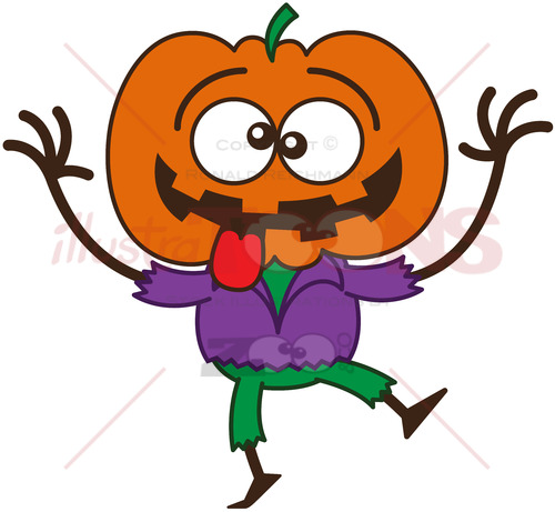 Halloween scarecrow making funny faces - illustratoons