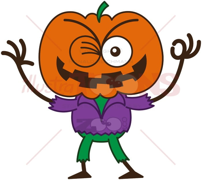 Halloween scarecrow winking and making an OK sign - illustratoons