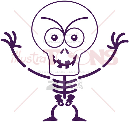Halloween skeleton acting mischievously - illustratoons