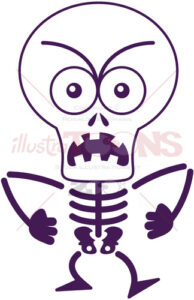 Halloween skeleton expressing anger and groaning - illustratoons