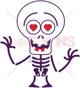 Halloween skeleton falling in love - illustratoons