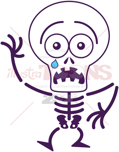 Halloween skeleton feeling scared - illustratoons