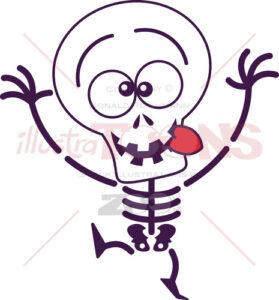 Halloween skeleton making funny faces - illustratoons