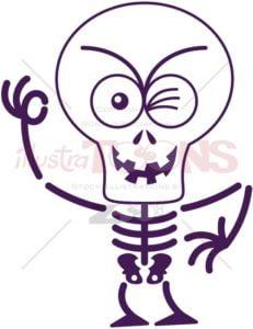 Halloween skeleton winking and making an OK sign - illustratoons