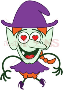 Halloween witch irremediably falling in love - illustratoons