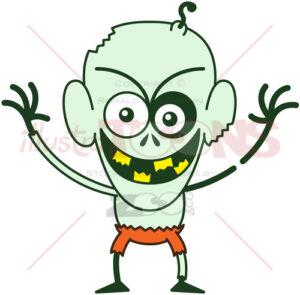 Halloween zombie feeling mischievous - illustratoons