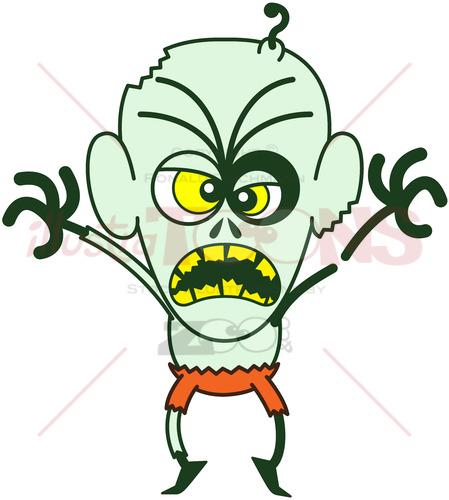 Halloween zombie showing scary mood - illustratoons