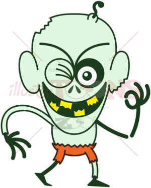 Halloween zombie winking and making an OK sign - illustratoons