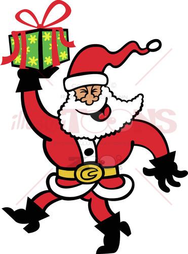 Happy Santa Claus bringing a Christmas present