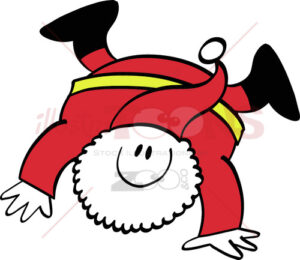 Happy Santa Claus executing a cartwheel - illustratoons